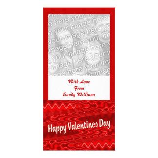 red  Happy Valentines Day Custom Photo Card