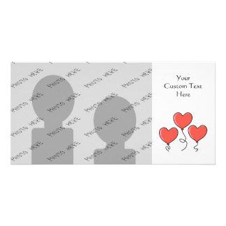 Red Heart Balloons. Custom Photo Card