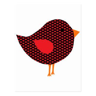 Red Heart Bird Postcard