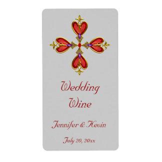 Red Heart Cross Wedding Mini Wine Label Shipping Label