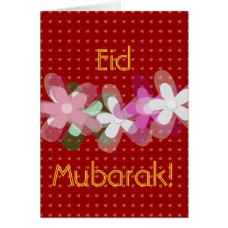 Red hearts and flowers Eid Mubarak Greeting Card