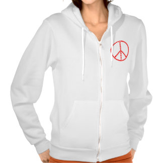 Red Hearts Round Peace Sign Hoodies