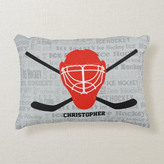 Red Ice Hockey Helmet and Sticks Typography Accent Pillow