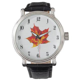 Red maple leaf wristwatch