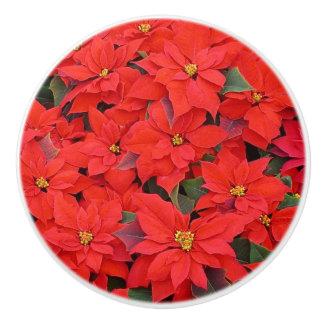 Red Poinsettias I Christmas Holiday Floral Ceramic Knob