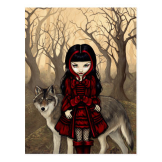 """Red Riding Hood in Autumn"" Postcard"
