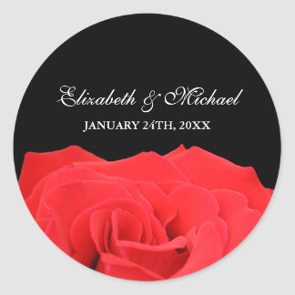 Red Rose and Black Wedding Favor Label Round Sticker