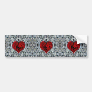 Red Rose and crystals Bumper Sticker