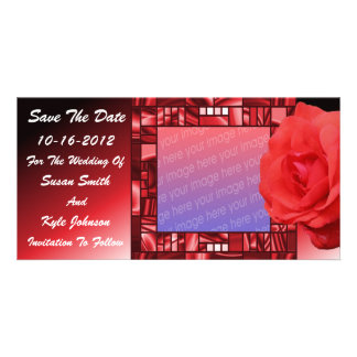 Red Rose Floral Wedding Save The Date Photo Personalized Photo Card