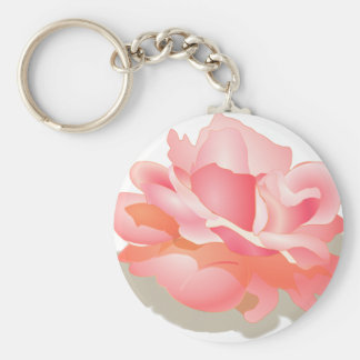 RED ROSE FLOWER IN BLOOM. BIG ROSE GIFTS BASIC ROUND BUTTON KEYCHAIN