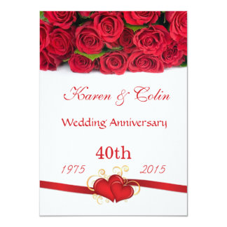 """Red roses and hearts 40th Wedding Anniversary 4.5"""" X 6.25"""" Invitation Card"""