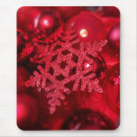Red sparkly snowflake mouse pad