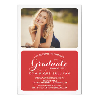 Red Two-Photo Graduation Party Invitation