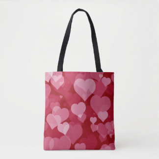 Red Valentine Hearts All-Over-Print Tote Bag