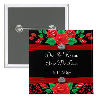 Red Vine Roses On Black Date Saver 2 Inch Square Button