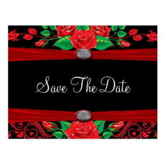 Red Vine Roses On Black Save The Date Postcard