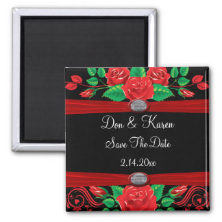 Red Vine Roses On Black Save The Date Square Magnet