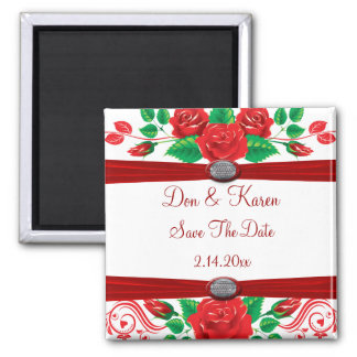 Red Vine Roses On White Date Saver Square Magnet
