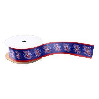 Red, White and Blue 4th of July Fireworks 1.5 Inch Satin Ribbon