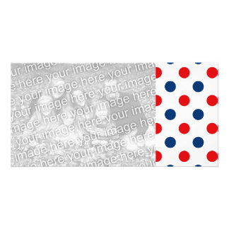 Red White and Blue Polka Dots Customized Photo Card