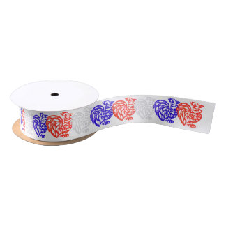Red White and Blue Rooster Satin Ribbon