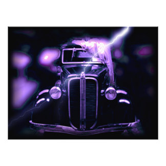 Reflection Of Collectible Classic Cars (Lightning) Photo Art