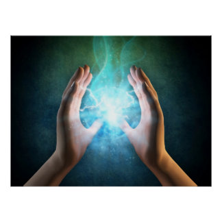Reiki healing hands energi at work distant healing poster
