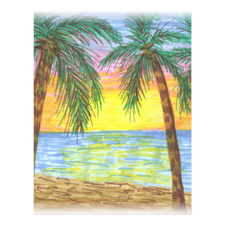 Relaxing Tropical Beach Palm Trees Letterhead Template