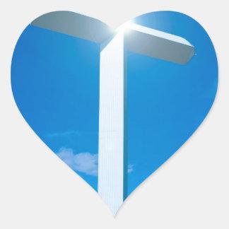 Religious Christianity White Cross Blue Water Heart Sticker