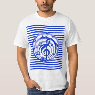 Retro 3D Effect Blue Musical Notes Shirt