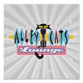retro alley cats lounge sign poster