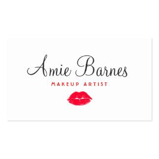 Rétro beauté de baiser rouge de blanc de carte de visite standard