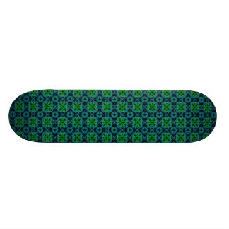 Retro daisies - kind Deco in green blue black Custom Skateboard