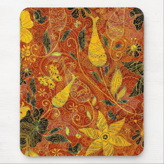 Retro Floral Collage-Yellow & Red Mouse Pad
