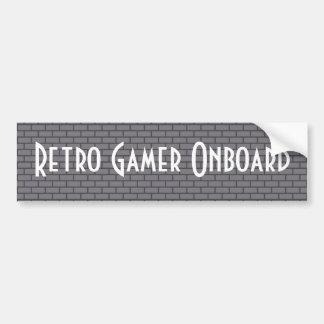 Retro Gamer on Board, Grey 8-Bit Brick Bumper Sticker