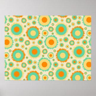 Retro Hippie Dots In Orange, Green, & Tan Poster