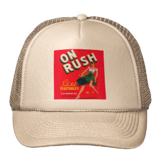 Retro Vintage Kitsch Pin Up On Rush Fruit Crate Trucker Hat