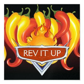"""Rev It Up! - BBQ - Barbecue 5.25"""" Square Invitation Card"""
