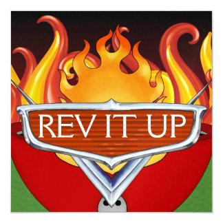 "Rev It Up! - BBQ - Chili Cook-Off 5.25"" Square Invitation Card"