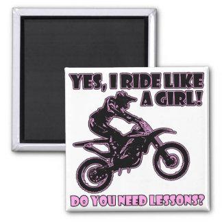 Ride Like A Girl Motocross Dirt Bike Fridge Magnet
