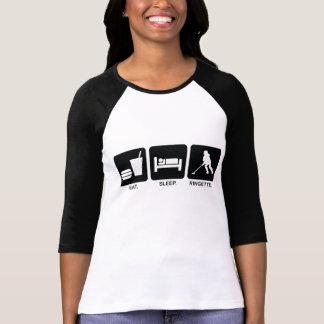 """Ringette """"Eat Sleep Ringette"""" Ladies 3/4 Sleeve T Shirts"""