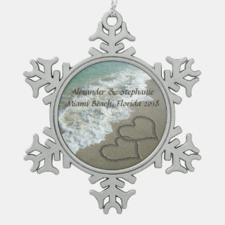Romantic Hearts on the Beach Christmas Ornament. Pewter Snowflake Ornament