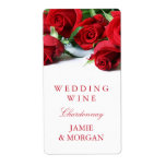 Romantic Red Roses Wedding Wine Label Shipping Label