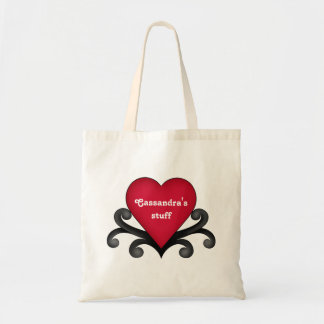 Romantic red Valentine's Day hearts Budget Tote Bag