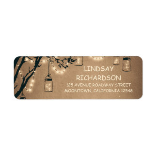 Romantic Rustic Fireflies Mason Jars Wedding Return Address Label