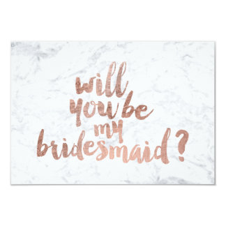 "Rose gold marble Will you be my Bridesmaid 3.5"" X 5"" Invitation Card"