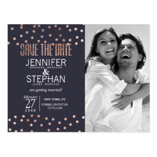 Rose Gold Polka Dots and Navy Blue Save the Dates Postcard