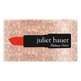 Rouge à lèvres moderne de maquilleur de paillette carte de visite standard