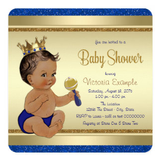 """Royal Baby Boy Blue Gold Ethnic Prince Baby Shower 5.25"""" Square Invitation Card"""