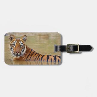 Royal Bengal Tiger at the waterhole Travel Bag Tags